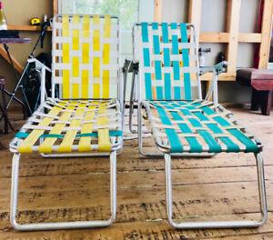 Chaise longue rétro vintage long chair patio jardin