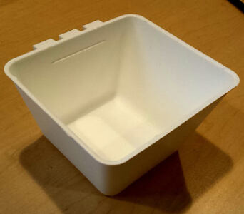 100 pcs Square 1.2 Quart White Hanging Feed & Water Cage Cups - Chicken Poultry