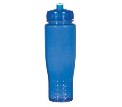 100 Bulk Pack 28 Ounce Blue Water Bottles Lids. USA Made