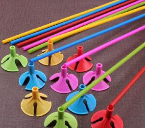 100pcs Plastic Balloon Multicolor Holder Sticks Cup Wedding Party Decoration -YT