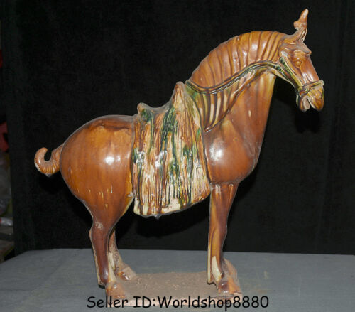 """16.4"""" Collect Old China Yellow Tang Sancai Pottery Dynasty Animal Horse Statue"""