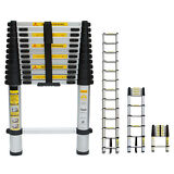 12 1/2ft 12.5' Extension Telescoping Aluminum Ladder ANSI WorkSite Required Work