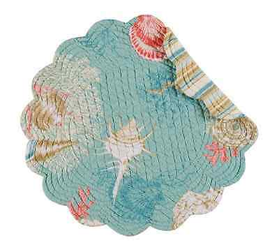 SANTA CATALINA Quilted Reversible Round Placemat by C&F - Shells - Aqua, Coral