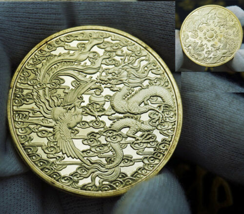 Culture of Chinese Zodiac Dragon and phoenix Lucky Happiness Wish COIN gold