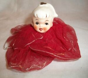Vintage Porcelain & Crinoline Red Angle Christmas Tree Ornament
