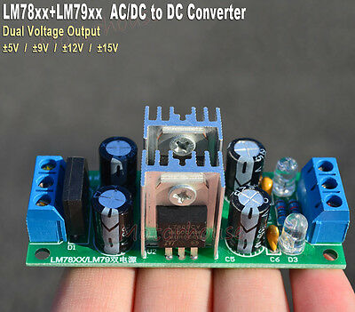 Acdc To 5v 12v 15v Dual Channel Voltage Converter Rectifier Power Supply Module