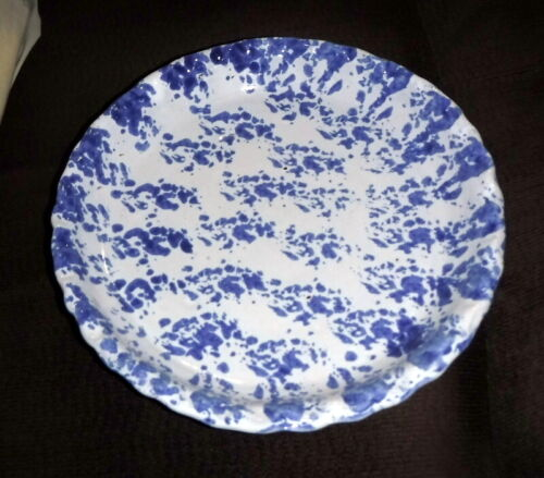 Vintage Blue and White Bybee Spongeware Pottery Pie Dish 10""