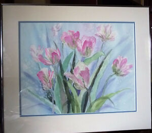 """Summer Flowers by M. Knox """"Pretty in Pink"""" Watercolor, 1970 Stratford Kitchener Area image 1"""