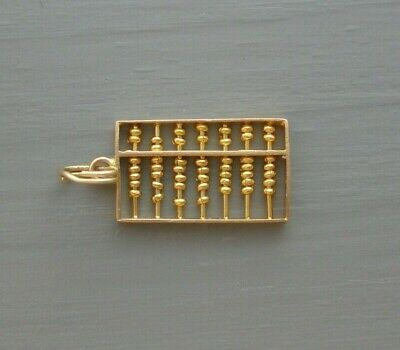 VINTAGE 14K YELLOW GOLD CHINESE ABACUS 3D MOVEABLE BEADS CHARM OR PENDANT 1.1 g