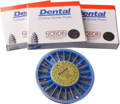 120 Dental Conical Screw Post Authentic NORDIN Kit Gold Plated BEST