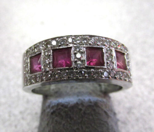 Beautiful Unisex  Square Ruby And Diamond Ring 14k White Gold Size 7  Make Offer
