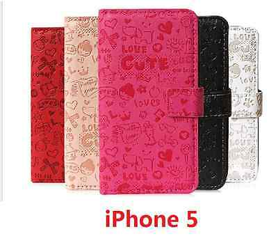 Classic Pattern Design Leather Wallet Flip Case Cover for iPhone 5 5s Pattern Design Case