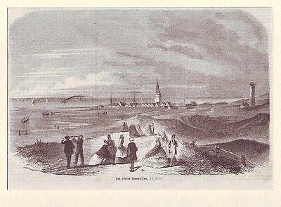 Holzstich   Das Seebad Wangeroog  ca. 1857 Wangerooge