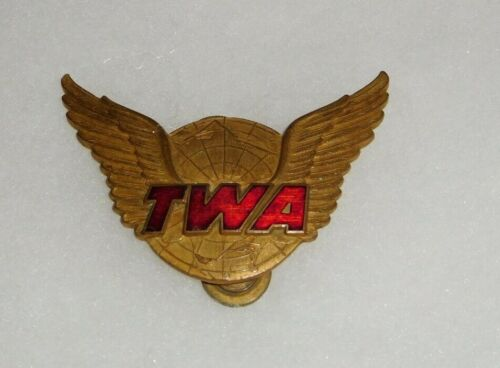 TWA Trans World Airlines Agent Hat Badge 1st Issue Type III