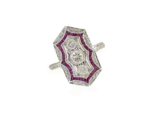 Fabulous Edwardian Vintage Style Pink Sapphire With Old Mine Cut CZ Wedding Ring