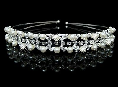 Holy Communion Tiaras (FLOWER GIRL/HOLY COMMUNION/BRIDAL GIRLS Crystal Pearl Tiara Headband -Uk)