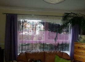 2 Sets curtains and 3 nets purple violet in very good condition