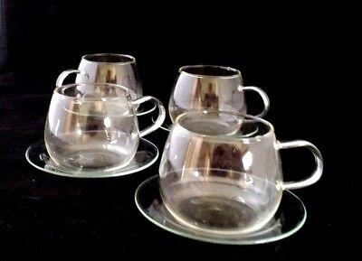 Vtg Heat Resistant 10fl oz Glass Coffee Tea Cups & Saucers Elegant Mugs Set of 4