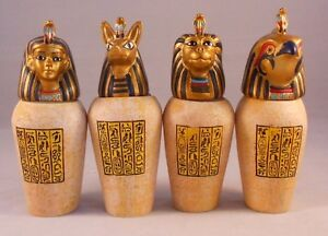 EGYPTIAN CANOPIC JARS, Set of 4 Resin Decorative Collectibles, 3.5