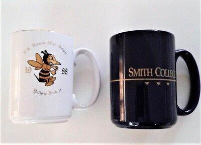 Vintage High School Smith College white and cobalt blue 2 large Coffee Cups Mugs