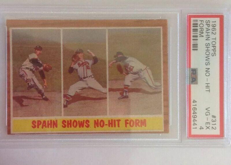 Warren Spahn 1962 Topps #312 Spahn Shows No Hit Form PSA 4 HOF
