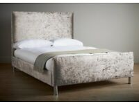 Lusso Double bed frame crushed velvet