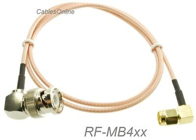 Male Right Angle - SMA Right-Angle Male to BNC Right-Angle Male RG316 Coax Low Loss Cable