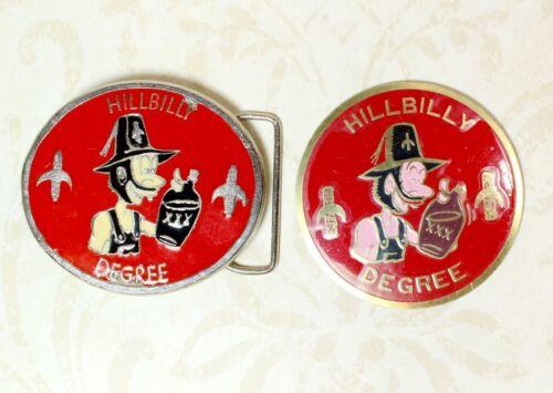 Shriners Hillbilly Degree Belt Vintage Buckle + Hillbilly Degree Car Emblem