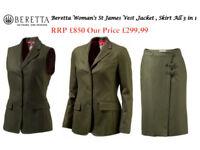 Beretta Woman's St James Vest,Jacket,Skirt Size UK10 All One Set