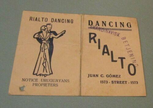 Vintage Rialto Dancing Club Advertising Card Montevideo Uruguay Jazz Orchestras