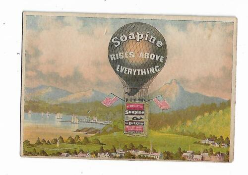 Trade Card SOAPINE Rises Above Everything Kendall Mfg Providence Hot Air BALLOON