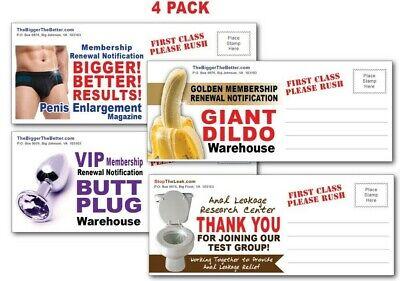 4 PACK - Adult PRANK Mail Postcards - FUNNY Joke Revenge Gag Gift Novelty Funny