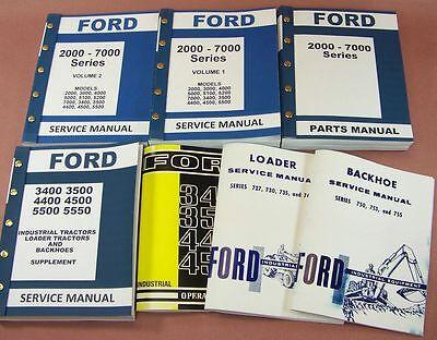 Ford 3400 3500 Loader Backhoe Tractor Service Repair Shop Operator Parts Manuals