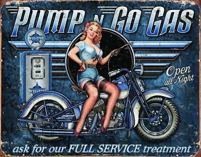 Old Gas Pump Motorcycle Pin Up Metal Sign Picture Cave Garage Bar Office Gift