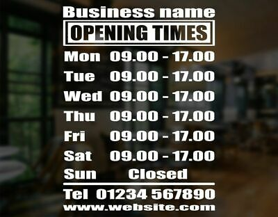 Custom Business Store Hours Sign Vinyl Decal Sticker- Size Options