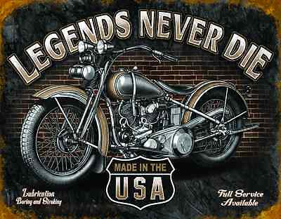 """Tin Sign- """"LEGENDS- Never Die """"- Garage & Harley Motorcycles Wall Decor Man Cave"""