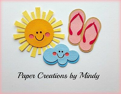 CRAFTECAFE MINDY SUN CLOUD SANDALS premade paper piecing embelishment die - Cloud Paper