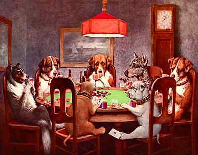 "TIN SIGN- ""Seven  Dogs Playing Poker""  Man Cave, Garage  Metal Wall Art"