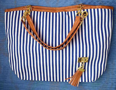 NAUTICAL Blue & White Striped Shoulder Tote Bag w/Brown Tassel Trim PURSE, NEW!