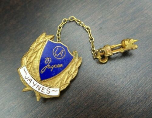 Beautiful Vintage Enameled LA Jaycee Seal & Key Pin