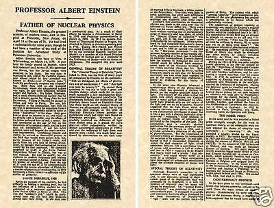 Albert Einstein 1955 Ny Times Obituary Print Ready To Frame Obit Bio