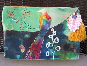 Colorful Big Watercolor Papaya Art Bird Large Bag Vegan Clutch Accessory Tassel