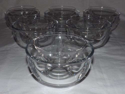 (Set of 6) Fostoria FAIRFAX Clear 2-Piece ICERS with INSERTS for Shrimp/Seafood