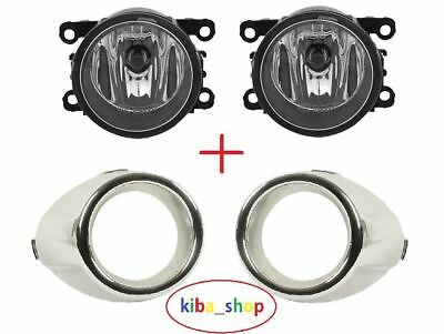 FORD FIESTA MK7 08- BUMPER 2X FOG LIGHT LAMP AND COVER GRILLE TRIM BEZEL PAIR