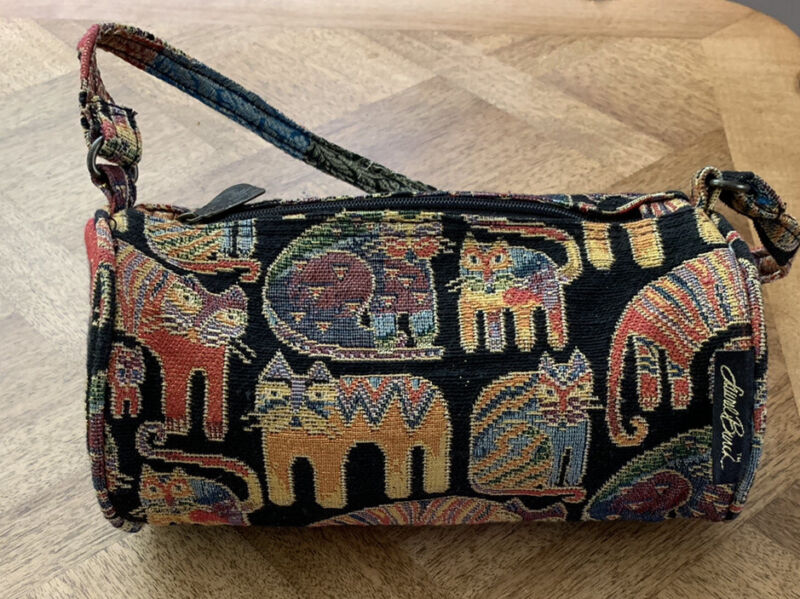 Laurel Burch Cat Print Tapestry Fabric Small Barrel Handbag in Black/Multi