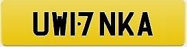 17 Private Registration Plate held on certificate ready to transfer to vehicle. UW17NKA :-)