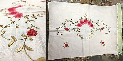 Antique Vintage Arts and Crafts Royal Society Pillow Case Cover Embroidered Rose