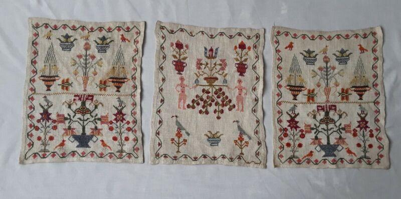 RARE Trio Of Mid 19th Century English Antique Samplers