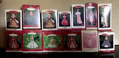 Lot of 13 : Barbie Hallmark Christmas Ornaments in Boxes