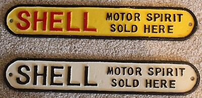 Pair of Vintage Style SHELL Cast Iron Signs - Yellow & White